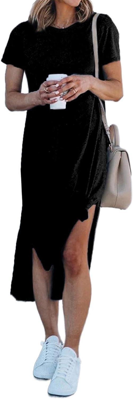 Aleumdr Womens Short Sleeve Tshirt Dresses Casual Side Knot Mini Dress