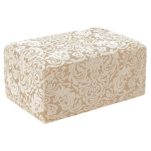 subrtex Ottoman Slipcover Jacquard Damask Oversize Stretch Storage Protector Rectangle Footstool Sofa Slip Cover for Foot Rest Stool Furniture in Living Room (Linen)