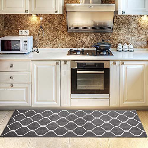 Cosy Home Küchenteppich, mit rutschfester Unterseite, für Küchen-Bodenmatte, mit Wasseraufnahme, speziell für die Reinigung in der Waschmaschine (Grau, 60 x 180 cm)