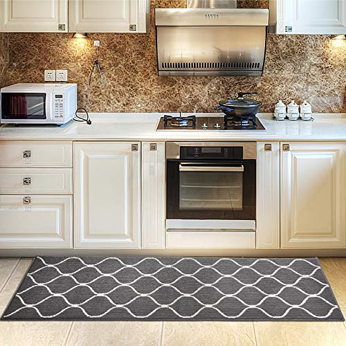 COSY HOMEER Kitchen Rug Non Slip Backing for Kitchen Floor Runner Rug with Water Absorbent Specialized in Machine Washable (grau, 60 * 180cm)