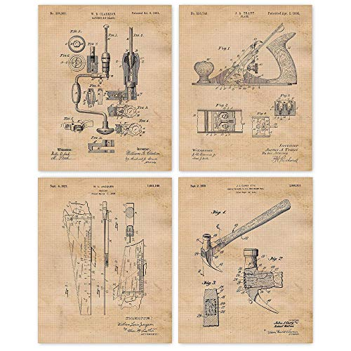 Vintage Woodworking Tools Patent Poster Prints, Set of 4 (8x10) Unframed Photos, Wall Art Decor Gifts Under 20 for Home, Office, Garage, Man Cave, Carpenter, College Student, Teacher, Handmade Fan