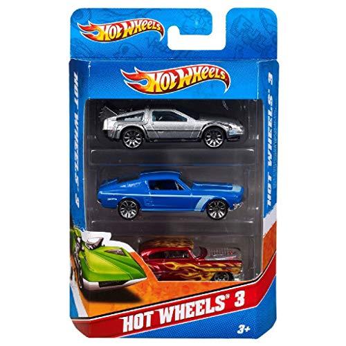 Hot Wheels Pack de 3 vehículos, coches de juguete (modelos surtidos) (Mattel K590)