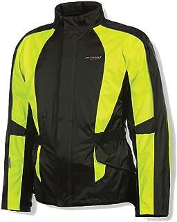 Olympia New Horizon Rain Mens Waterproof Exteriors and Rain Gear On-Road Racing Motorcycle Jacket - Black/Neon Yellow /Medium/Large