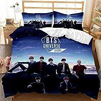 BTSトップメンズチームの3Dプリントの羽毛布団カバーと枕カバー、女の子への完璧な寝具ギフト、寝室のアパートなどに適しています。-H_135x200cm(2個)