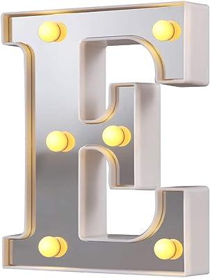 Luci a LED per tendone, 26 lettere dell'alfabeto illuminano il segno perfetto per la luce notturna Festa di compleanno Matrimonio Lampada di Natale Decorazione per bar di casa (Argento, E)