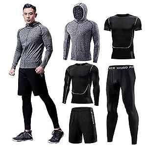 Fan Hua コンプレッションウェア メンズ ランニングウェア トレーニングウェア スポーツウェア 3点セット5点セット 吸汗速乾 ジム ウェア 半袖シャツ ハーフパンツ ランニングシャツ(05-Black Line -L-NEW)