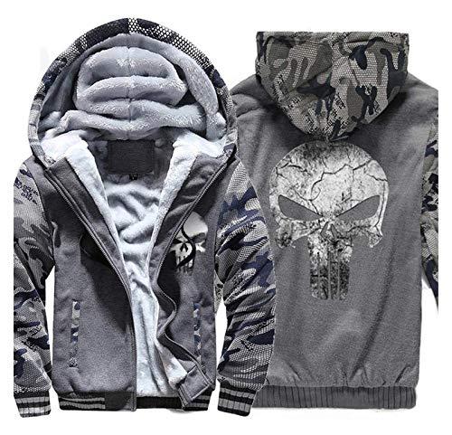 Herren Hoodies Jacke - Punisher Camouflage Casual Winter Mit Kapuze Warme zipcasuelle Sweatshirt Langarm SweatshirtGreat Geschenk (Color : C, Size : XL)