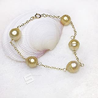 Golden South Sea Pearls Bracelet, Baroque 10-11mm Golden Pearl And 14KT Gold Filled Chain-Link Bracelet, Saltwater Clutured Pearls Bracelet