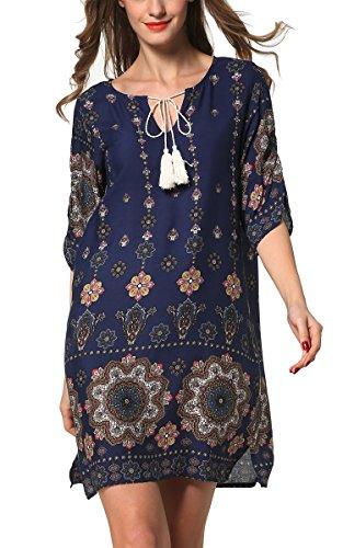 ARANEE Women's Boho Neck Tie Vintage Print Shift Dress Navy Blue