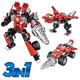 Robot STEM Toy Creative Set| 3 in 1 Transforming Action Rescue Figures Bots Construction Building Toys for Boys Ages 6-12 Years Old | Best Toy Gift Idea for Kids (Red)