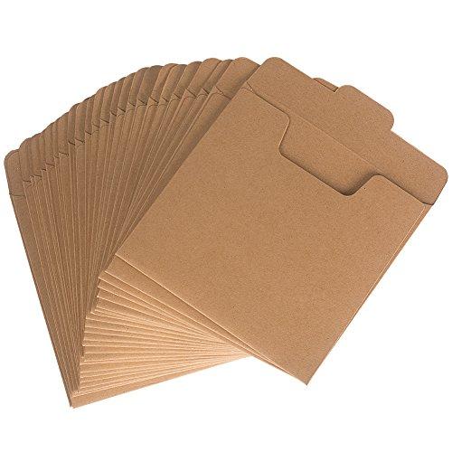 Benail, DVD-Hüllen und CD-Hüllen aus Kraftpapier, 12,7 cm x 12,7 cm, 50 Stück