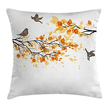 Ambesonne Fall Throw Pillow Cushion Cover, Branch with Pale Fall Leaves and Birds Natural Change in Season Summertime Print, Decorative Square Accent Pillow Case, 20 X 20 Inches, Yellow Cream