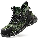 LBHH Zapatos de Trabajo 1 Piezas Botas de Seguridad Calzado de Seguridad para Las Cuatro Estaciones,Puntera de Acero Transpirable Calzado con Entresuela de Kevlar,antigolpes,Anti-puñaladas