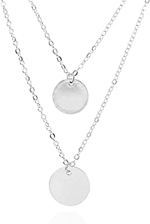 """MIXIA Double Bohemian Alloy Discs Round Sequins Coins Pendant Necklace Retro Layered Jewelry Party Gift Jewelry 15"""""""