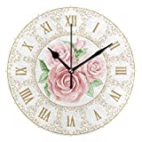 BONIPE Reloj de pared vintage Shabby Chic floral rosa silencioso, no hace clic...