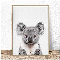 赤ちゃんコアラプリントオーストラリアの動物保育園の壁アートピーカブーキャンバスの絵画動物のポスターと版画子供の寝室の装飾(枠なし)50x70cm