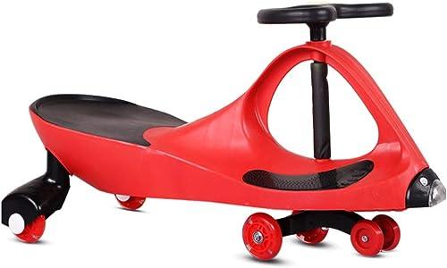 Kinder Twist Car Antikollisionskopf Baby Spielzeugauto 1-3 Jahre Alt Roller Stumm Rad Mit Musik Yo Car Swing Car FANJIANI (Farbe   rot)