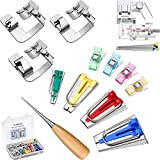 4 Size Fabric Bias Tape Maker Kits DIY Sewing Tool with Cloth Clips Awls Adjustable Binder Foot Ball Pins and 3 Pieces Hemmer Presser Feet Wide Rolled Hem Hemmer Foot