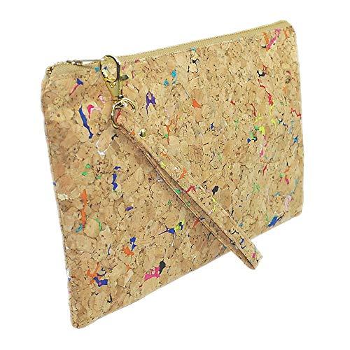 Vegan Reißverschlusstasche, Mundschutzbeutel, Dokumententasche, A5, Kork, Innenfutterverstärkt, für Damen und Girls