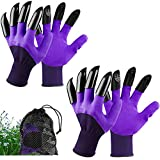 Garden Genie Gloves with Claws Waterproof Garden Gloves for Digging Planting Breathable Gardening Gloves for Yard Work, Purple, 2 Pairs