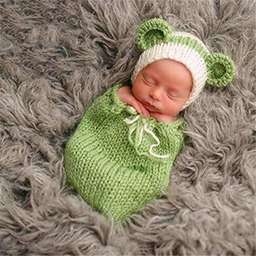 AWYJ Photo de bébé Suit Vêtements de Laine Photographie Enfants Sac de Couchage bébé Photo Cartoon Main Vêtements Laine Props Tenues Costume Enfant Photographie (Color : Green, Size : One Size)