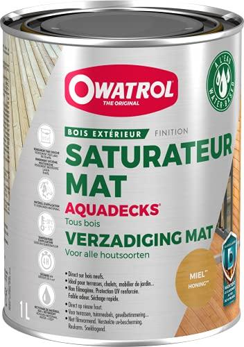 Owatrol OWATROL - AQUADECKS - 1 L - Miel - Holzsättiger matt auf wässriger Basis, für den Schutz von tropischem Holz im Außenbereich Teak Ipe Bangkirai Akazie Massaranduba