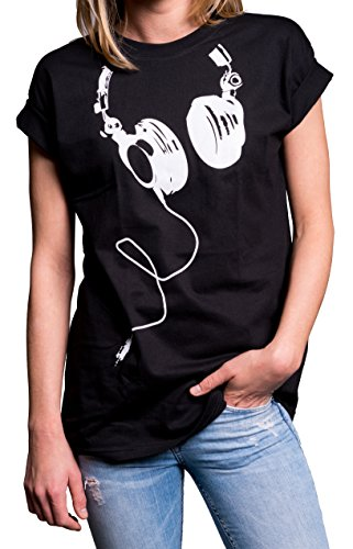Coole Oberteile Damen - Hipster Oversize Shirt Kurzarm große Größen - Kopfhörer Aufdruck schwarz M