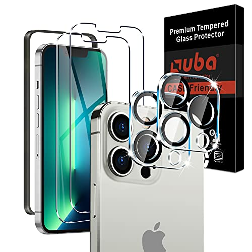 """OUBA 2 Pack Screen Protector for iPhone 13 Pro Max 6.7"""" with 2 Packs Camera Lens Protector, 9H Hardness Tempered Glass, Easy Installation Tray, Case Friendly, HD Ultra-Thin"""