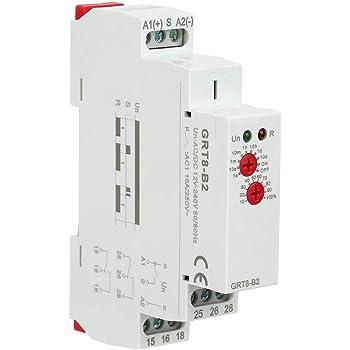 Interruptor de Relé de Retardo de Tiempo AC 220V GRT8-M1 Montaje en Carril DIN Multifuncional 10 Funciones Indicadores LED para Equipos Industriales: Amazon.es: Bricolaje y herramientas