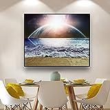 zgwxp77 Immagine del Salone del murale di Panorama della Pittura della Tela della Tela del Manifesto e della Stampa della Tela della Spiaggia dell'Oceano Naturale di alba50x40cm Senza Cornice