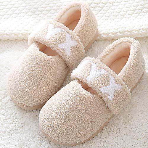 Zapatillas Casa Hombre Mujer Zapatillas De Invierno para Mujer, Zapatillas De Mujer De Felpa Suave Y Cálida, Zapatos Encantadores, Zapatillas De Masaje para El Hogar-Beige_7
