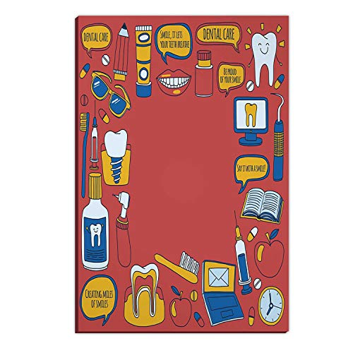 Hitecera Dentistry Vector Doodle Set of Icons Children Dental Care Large Wall Art,046410 cat Gifts,12''Wx18''H