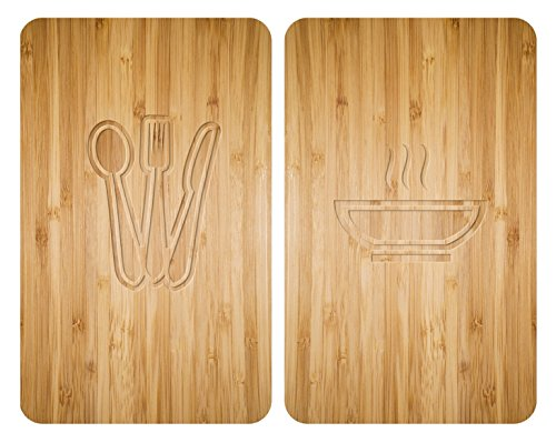 WENKO - Placas Cobertoras de Vidrio Universales Lunch, Tapa de Placa Calefactora y Tabla de Cortar para Todo Tipo de Estufas, Vidrio Endurecido, 30 x 52 cm, Multicolor