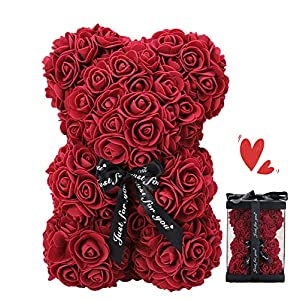 Silk Flower Arrangements ZFDEBY Rose Flower Bear-Hand Made Teddy Bear,Best Artificial Decoration Gifts for Mothers Day, Valentines Day,Bridal,Weddings,The Perfect Party Clear Gift Box(03-deep red)