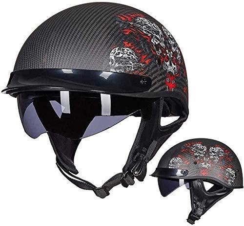 RXX666 Motorrad Motorrad Halbhelm DOT/ECE-zertifizierter Unisex Vier-Jahreszeiten-Jet-Helm Vintage Offener Helm Mit Versteckter Sonnenbrille-H_M=(57~58cm)