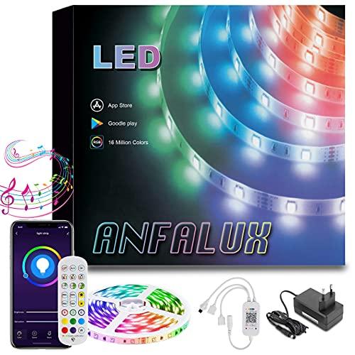 Anfalux tiras LED 5M, RGB5050, Bluetooth. Control APP y caja de control ,modo música. LED STRIP para decoración de Fiestas, dormitorio, Bar y TV. Eficacia Energética A++, 12V