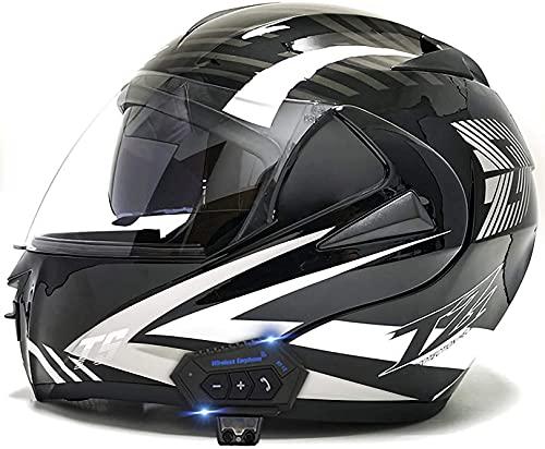 XLYYHZ Casco Bluetooth Modular para Motocicleta, Visera Solar Doble Tipo abatible Casco Completo Casco Certificado por Dot Radio Incorporado Mp3 FM Sistema de comunicación de intercomunicación Inte