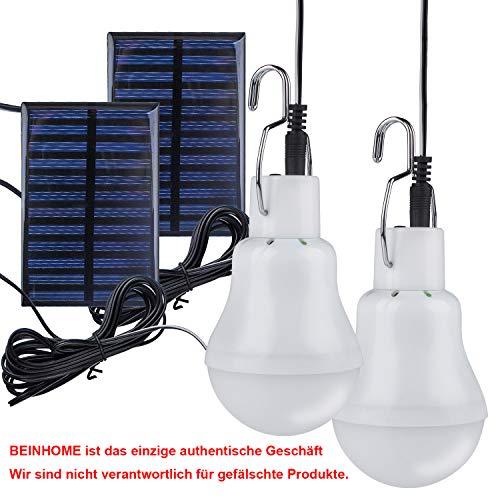 Beinhome Solarleuchten Solarlampen, Solar Glühbirne LED mit Solarpanel Licht Birne 3 W, Solar lampe Beleuchtung für Außen, Innen, Camping, Wandern, Angeln, Gartenhaus [2 Stück]