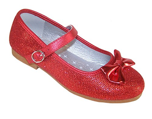 Girls red Sparkly Glitter Ballerina Flat Party Shoes Flower Girl Bridesmaid Special Occasion, Red, 11 UK Child