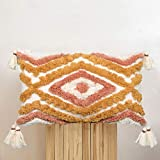ANGELLOONG 12x20 Boho Lumbar Pillow Cover, Woven Tufted Decorative Pillow Covers Yellow Geometric Pillow Cover for Couch Bedroom Living Room Car(No Pillow Insert, 1Pcs)
