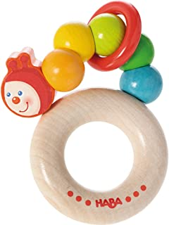 HABA Clutching Toy Rainbow Caterpillar Beech Wood Rattle & Teether with Plastic Ring (Made in Germany)