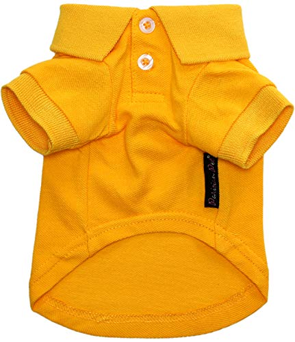 Parisian Pet Yellow Polo Shirt for Dogs - 100% Cotton, Breathable Summer Outfit for Puppy Dog, Cat |Solid Color Dog Shirts - Size M