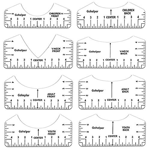 Tingz 8 Herramientas Alineación Centrado Centrar de Camiseta Plantilla PVC Regla Guía Colocación Medición Herramientas Centrado Diseños Camisetas Plantilla de camiseta para adultos y niños