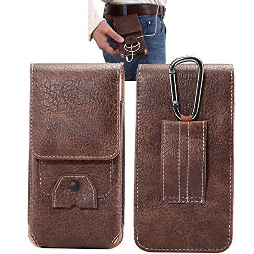 MISKQ Universal Handyhülle,Outdoor-Reisetasche,Gürtel Stil Herrentaschen,für: DOOGEE X55/X50L/Blackview A60 Pro 2019/WIKO Y60 usw.DOOGEE,Blackview,WIKO, Handy 5,7 Zoll oder weniger(Brown)