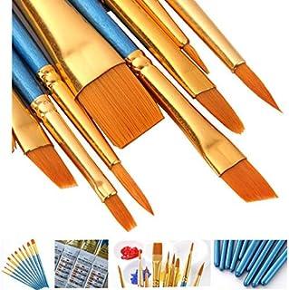 AOOK artist painting brush senior hair artist flat dot brush set, watercolor acrylic oil painting supplies(BLUE) (10 P Blue)