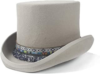 AE-KANGSHUAI 2019 Men Women Elegant 100% Wool Wedding Hat Steampunk Top Hat Braided Tassel Traditional Flat Top Hat Cap