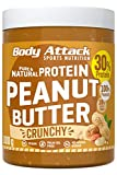 Body Attack Peanut Butter Natural 30% Protein Sugar & Fat Free Crunchy 1 kg