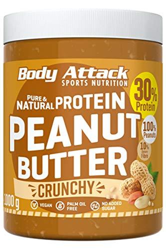 Body Attack Protein Peanut Butter, 1kg, Crunchy, Vegan, Natürliche Erdnussbutter ohne Salz & Palmfett - Low Sugar Erdnussmus mit 30% Protein