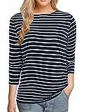 Women's 3/4 Sleeve Striped T-Shirt Tee Shirt Tops Slim Fit Blouses (Medium, Navy Stripe)