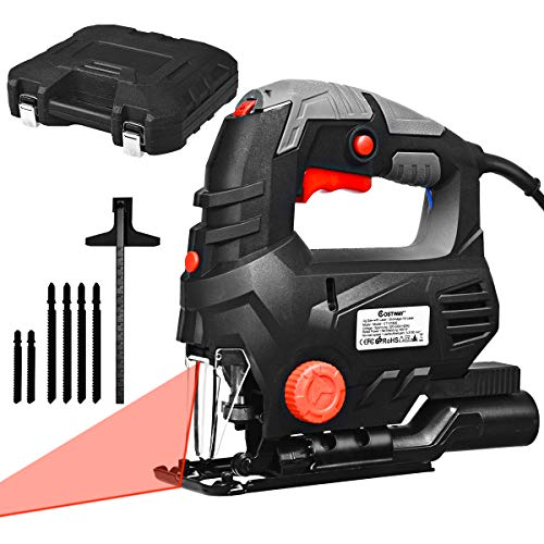 COSTWAY Eletrische Stichsäge Kurvensäge 800W / 3000U/min / 45°Abschrägungswinkel / 6 Sägeblätter / 5 Geschwindigkeiten